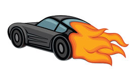 Black car fire. The black car goes at a fast speed, behind it the fire burns Stock Photos