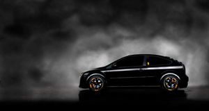 Black car in fog background Royalty Free Stock Photography