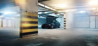 Black car in the garage, BMW E46 Coupe Royalty Free Stock Photo