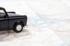 Black car on a german road map Royalty Free Stock Photography