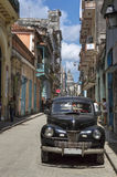 Black car in Havana, Cuba. Vintage car parked in Old Havana, Cuba stock photography