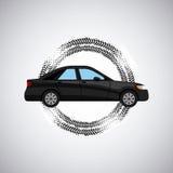 Black car icon. Black car vehicle icon over white background with wheel print. colorful design.  illustration Stock Photo