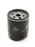Black car oil filter. Royalty Free Stock Image
