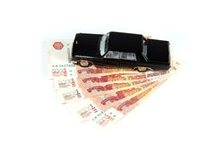 Black car on a pack of Russian rubles Stock Images