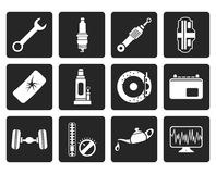 Black Car Parts and Services icons. Vector Icon Set 1 Stock Photography