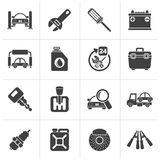 Black Car parts and services icons. Vector icon set 1 Royalty Free Stock Photography
