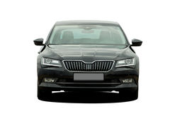 Black car. Black passenger car on a white background, fronf view Stock Photography