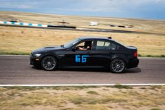 Black car racing on track Royalty Free Stock Photo