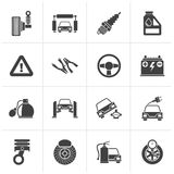 Black Car and road services icons. Vector icon set Stock Photography