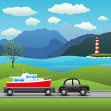 Black car with a trailer and boat. On a background of sea and mountains vector illustration