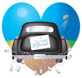 Black Car w/ Just Married Sign. A cute illustration depicting a bride and groom driving off into the night after their nuptials Royalty Free Stock Photos