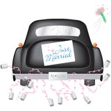 Black Car w/ Just Married Sign stock photos