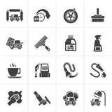 Black car wash objects and icons Stock Image