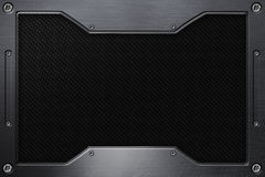 Black carbon fiber background with metal frame. 3d illustration Stock Photography