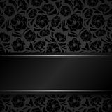 Black card with floral pattern. Stock Photo