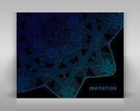 Black card with geometric decoration. Royalty Free Stock Photos
