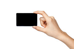 Black card in hand on white background Royalty Free Stock Photo