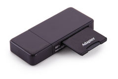 Black card reader with memory card (Clipping path) Royalty Free Stock Images