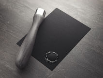 Black card with seal wax and blank stamp. 3d rendering Royalty Free Stock Images