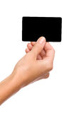 Black card in woman's hand Royalty Free Stock Images