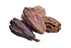 Black cardamom, also known as hill cardamom, Bengal cardamom, greater cardamom, Indian cardamom, Nepal cardamom, winged cardamom, royalty free stock photography