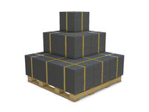 Black cardboard boxes in group Royalty Free Stock Image