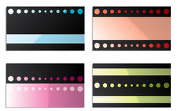 Black cards with color stripes and circles Royalty Free Stock Photos