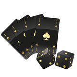 Black cards and dices Royalty Free Stock Images