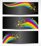 Black cards with rainbow wave. Illustration with set of black cards with rainbow wave stock illustration