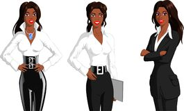 Black Career Women. Vector illustration of a black fashion designer, a black secretary and a black business woman on isolated background royalty free illustration