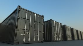 Black cargo containers, 3D rendering royalty free stock photo
