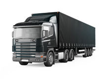 Black cargo delivery truck. Royalty Free Stock Image