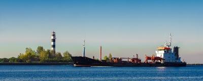 Black cargo oil tanker Royalty Free Stock Photo