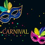 Black carnival background with festive masks. Black carnival background with bright festive masks and confetti. Vector illustration.r Royalty Free Stock Image