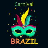 Black carnival background with festive mask. Black Brazil carnival background with festive decorative mask and confetti. Vector illustration.r Royalty Free Stock Images