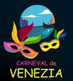Black carnival background with festive masks. Black Venezia carnival background with two bright festive masks, Italian. Vector illustration Stock Photos