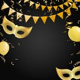 Black carnival background with gold masks and flags. Black carnival background with gold masks, flags, balloons and serpentine. Vector illustration Stock Image