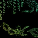 Black carnival background with green masks and serpentine. Black carnival background with green masks, feathers and serpentine. Vector illustration Stock Photos