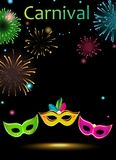 Black carnival background with masks and fireworks. Black carnival background with colorful festive masks and fireworks. Vector illustration Royalty Free Stock Photography