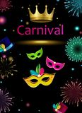 Black carnival background with masks and fireworks. Black carnival background with colorful masks and fireworks. Vector illustration Royalty Free Stock Images