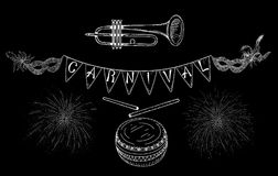 Black carnival background with white masks and flags. Black carnival background with white masks, fireworks, flags and music. Vector illustration Royalty Free Stock Photos