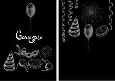 Black carnival backgrounds with white festive symbols. Vector illustration Stock Images