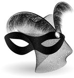 Black carnival half-mask and feathers. On an white background is a carnival black half mask decorated with veil and feathers Royalty Free Stock Images
