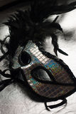 Black carnival mask with feathers, Stock Image