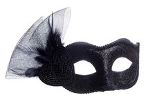 Black carnival mask isolated on white Royalty Free Stock Photos