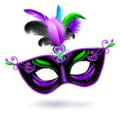 Black carnival mask with violet pink blue feathers on white background. Carnival banner. Vector card. Mardi gras banner. Black carnival mask with violet pink stock illustration