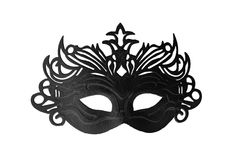 Black carnival mask on a white background 1. Black stylish carnival mask on a white background Stock Images