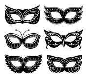 Black carnival masks Stock Images