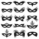 Black carnival party face masks isolated on white vector set Royalty Free Stock Image