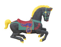 Black carousel horse isolated. royalty free stock images